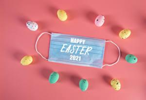 壁紙,復活節,Coronavirus,面具,色背景,卵,七彩,字 - 題詞,英語,2021,食物,