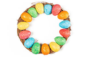 Picture Easter Many White background Egg Multicolor Food