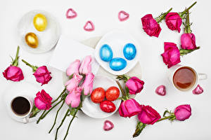 Wallpapers Easter Rose Candy Coffee Tea Petals Eggs Heart Cup Flowers Food