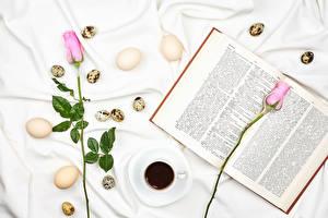 Fotos Ostern Rosen Kaffee Rosa Farbe Zwei Ei Tasse Buch Lebensmittel Blumen