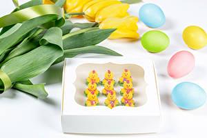 Hintergrundbilder Ostern Tulpen Hühner Törtchen Weißer hintergrund Gelb Ei Mehrfarbige Lebensmittel Blumen