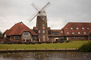 Pictures England Pond Ducks Windmills Cafe Milton Keynes, Buckinghamshire County Cities