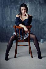 Picture Evgeniy Bulatov Chair Sitting Legs Skirt Hands Blouse Glance Nastya Girls