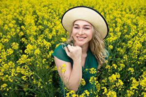 Photo Fields Rapeseed Smile Hat Hands Staring Aleksandra Girls