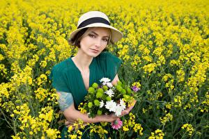Bilder Acker Raps Blumensträuße Der Hut Starren Kleid Alena Natur
