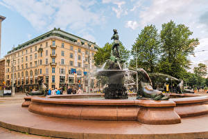 Wallpapers Finland Helsinki Fountains Houses Havis Amanda Cities pictures images