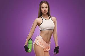 Image Fitness Pose Glove Hands Bottle Colored background Girls Sport