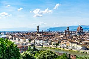Wallpapers Florence Italy Rivers Houses Horizon Dome Arno