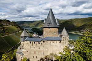 Papéis de parede Alemanha Castelo Rios Torre Burg Stahleck, Bacharach Cidades imagens