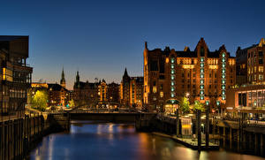 Pictures Germany Hamburg Houses Rivers Berth Night Rays of light
