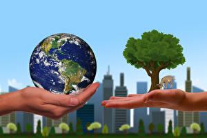 壁紙,房屋,地球,手,树,ecology,大自然,