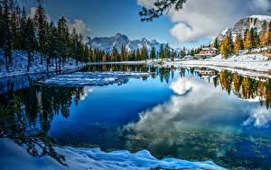 Wallpapers Italy Lake Winter Mountain Alps Trees Dolomites, Lake Misurina Nature