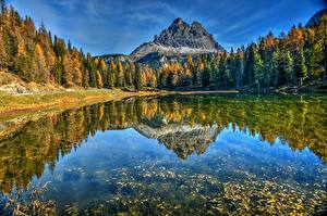 Pictures Italy Mountains Lake Autumn Reflected Trees Alps Lake Antorno, Dolomites Nature