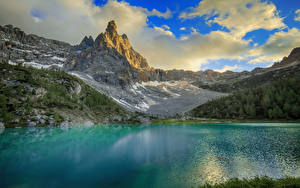 Pictures Italy Mountain Lake Alps Clouds Dolomites Nature