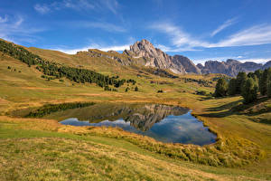 Pictures Italy Mountains Lake Landscape photography Alps South Tyrol, Dolomites Nature