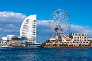 壁紙,日本,房屋,摩天輪,酒店,Yokohama,城市,
