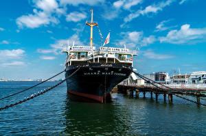 Desktop hintergrundbilder Japan Schiffe Schiffsanleger NYK Hikawamaru, Yokohama Städte