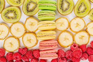 Fondos de Pantalla Kiwi Plátanos Frambuesas Macaron Multicolor Alimentos imágenes