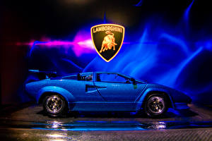 Desktop wallpapers Lamborghini Toys Side Blue Countach sv 5000 automobile