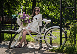 Photo Lilac Bench Sitting Frock Eyeglasses Bicycles Wicker basket Glance Kari Horkova young woman