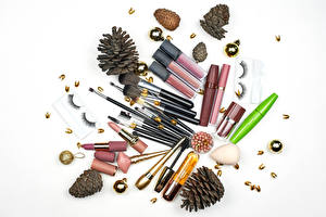 Desktop wallpapers Lipstick Cosmetics White background Paintbrush Pine cone