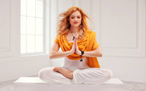 Wallpapers Lotus position Redhead girl Yoga Hands Legs Sit Katherine McNamara Celebrities Girls