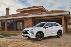 Wallpapers Mitsubishi White Metallic Crossover Hybrid vehicle Eclipse Cross Plug-in Hybrid, Worldwide, 2020 -- Cars pictures images