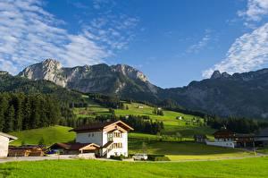 Desktop wallpapers Mountains Forest Grasslands Austria Alps South Tyrol Nature