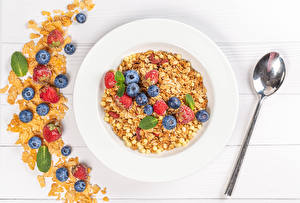 Wallpaper Muesli Blueberries Strawberry Plate Spoon Food