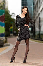 Wallpaper Natalia Larioshina Model Pose Dress Legs Staring Blurred background