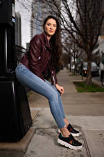 Picture Natalia Larioshina Posing Jeans Jacket Staring young woman