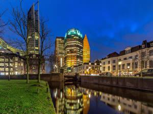 Fotos Niederlande Haus Abend Kanal The Hague