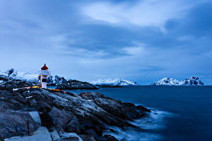 Pictures Norway Lofoten Mountain Coast Lighthouses Kabelvag Nature