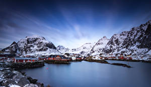 Pictures Norway Lofoten Mountains Houses Nature