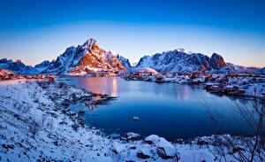 Wallpaper Norway Lofoten Mountain Morning Reine Nature