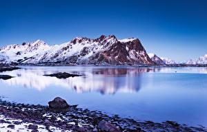Pictures Norway Lofoten Mountain Scenery  Nature