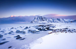 Photo Norway Lofoten Mountains Landscape photography Snow Uttakleiv