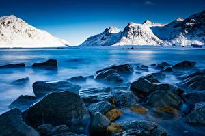 Wallpaper Norway Lofoten Mountain Stone Skagsanden beach Nature
