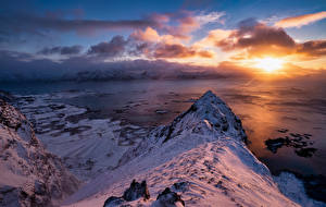 Picture Norway Lofoten Mountain Sunrises and sunsets Clouds Snow