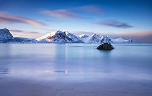Photo Norway Mountains Lofoten Haukland Beach Nature