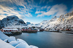 Picture Norway Mountains Lofoten Houses Clouds rorbu Nature