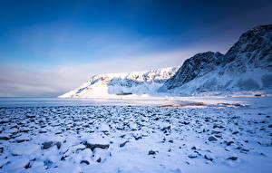 Wallpaper Norway Mountain Lofoten Snow Unnstad Nature