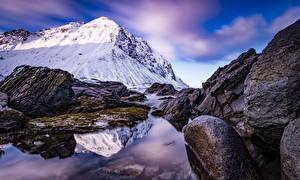 Picture Norway Mountains Stones Lofoten Storsandnes Nature
