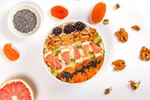 Desktop hintergrundbilder Schalenobst Aprikose Brombeeren Grapefruit Haferbrei Grauer Hintergrund Getreide das Essen