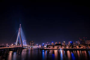 Images Rotterdam Germany Building River Bridge Night Rays of light