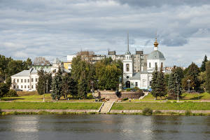 Wallpapers Russia Building River Coast Tver Cities