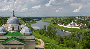 Pictures Russia Temple Monastery River Houses Trees Staritsa Volga river Svyato-Uspenskiy Monastery Nature Cities