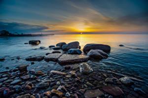 Wallpapers Sea Sunrise and sunset Stone Horizon