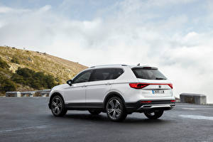 Bureaubladachtergronden Seat Cross-over auto Wit Metallic Hybride voertuig Tarraco eHybrid, Worldwide, 2021 automobiel