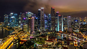 Wallpaper Singapore Building Skyscrapers Bridge Megalopolis Night Cities